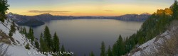 Crater Lake Panorama in sunset photo gallery